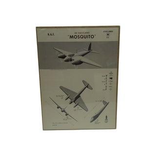 "Vintage WWII ""De Haviland Mosquito"" Recognition Poster"