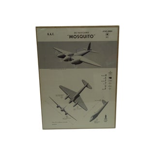"Vintage WWII ""De Haviland Mosquito"" Recognition Poster"