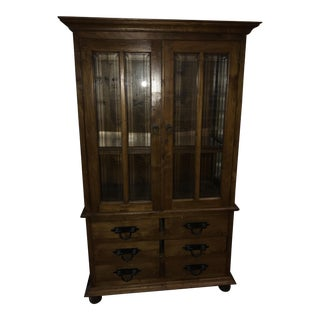 Handmade Solid Teak China Display Cabinet