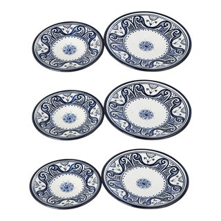 Hand Painted Blue Moroccan Ceramic Plates - Set of 6