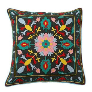 Vintage Hand Embroidered Black Pillow