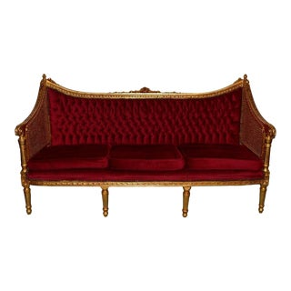 Louis XV French Style Carved Gilt Gold Tufted Sofa