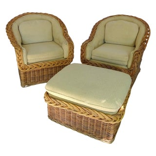 Wicker Works Classic Round Back Chairs & Ottoman
