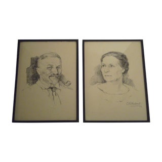 1924 Sketches Signed by C.H. Hotreds - A Pair