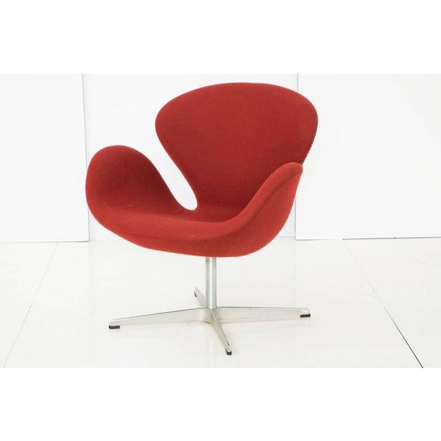 Image of Arne Jacobsen for Fritz Hansen Red Wool Swan Chair