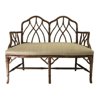 Faux Bamboo Maple Settee