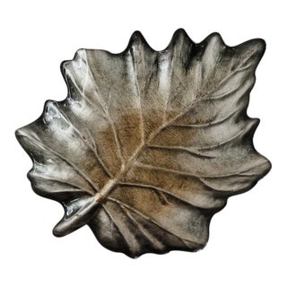 Reverse-Painted Glass Leaf Tray