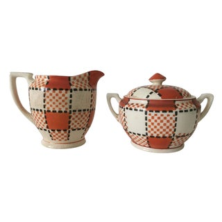 Vintage Kikui Japan Plaid Cream & Sugar Set