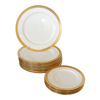 Set of 9 Milton Gold Band Dinner Plates With a set of 5 Salad Plates