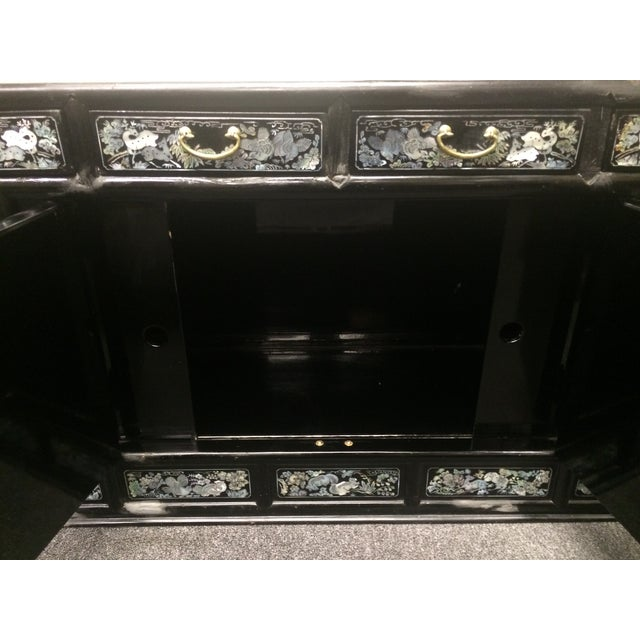 Asian Black Lacquer Mother of Pearl Inlay Chest - Image 7 of 7