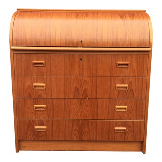 Danish Modern Style Teak Roll Top Desk