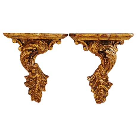1940s Italian Florentine Bracket Shelves- A Pair - Image 1 of 8