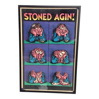 """1970s Vintage """"Stoned Agin"""" Framed Poster by Robert Crumb"""