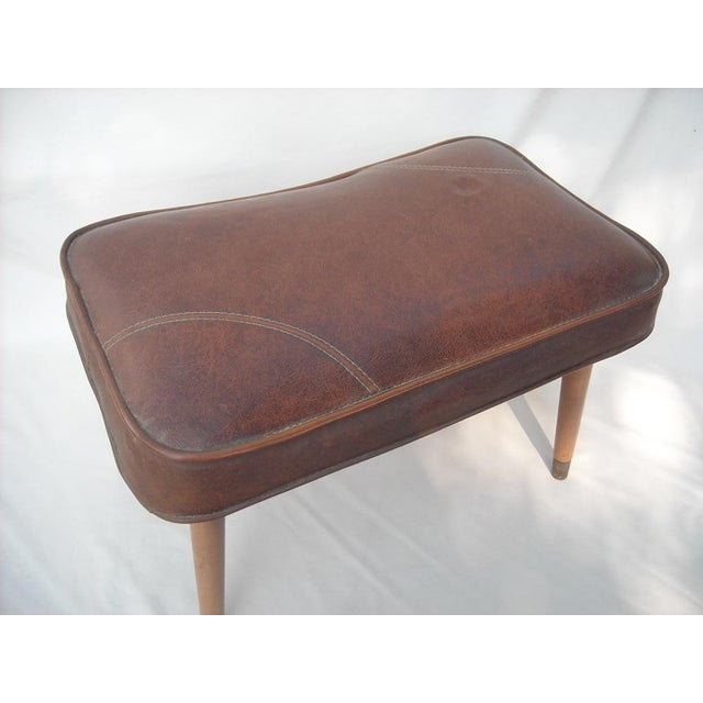Danish Modern Brown Vinyl Ottoman - Image 5 of 6