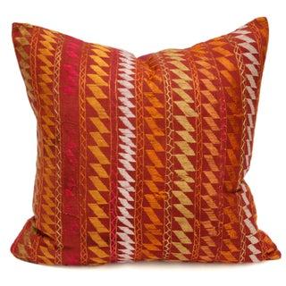 Ceremonial Bagh Phulkari Red Pillow