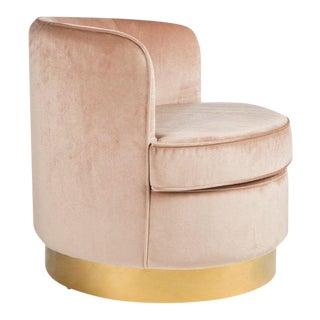 Brass Base Velvet Tube Chair
