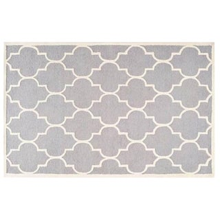 Carly Silver & Ivory Contemporary Rug - 6′ × 6′