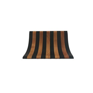 Contemporary Black Striped Wooden Tray
