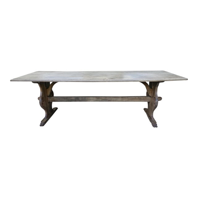 19th C. Carved Italian Trestle Dining Table - Image 1 of 11