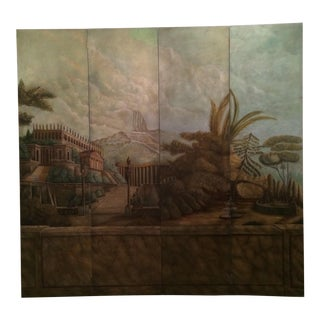 Maitland-Smith Hand Painted 4-Panel Screen