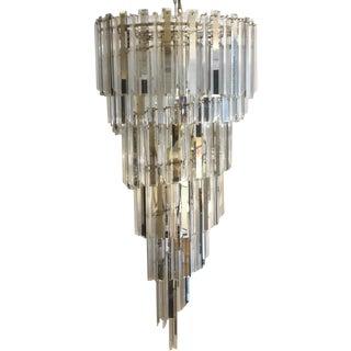 Lucite & Glass Spiral Chandelier