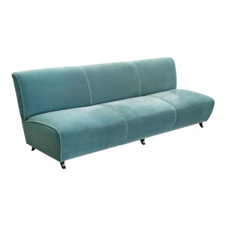 Postmodern 1990s Memphis Style Turquoise Green Upholstered Sofa