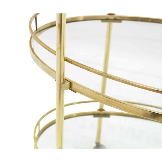 Three-Tier Brass Oval Tea Serving Cart - Image 3 of 8