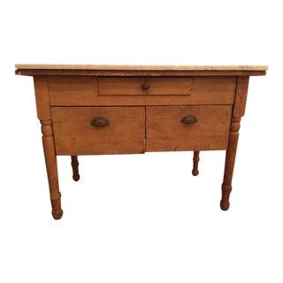 Antique Marble Top Farmhouse Table