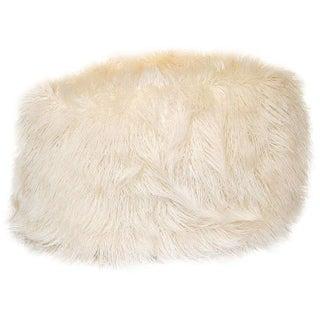 Faux White Flokati Pouf