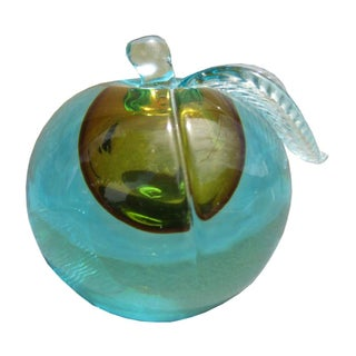 Blue and Gold Murano Glass Apple