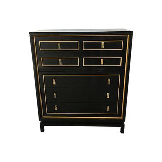 Hollywood Regency Style Martinsville Black Lacquered Highboy