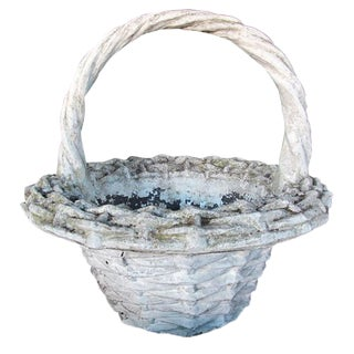 A Boldly-Scaled French Faux Basket-Weave Concrete Jardiniere