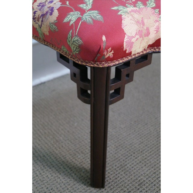 Vintage 1940s Mahogany Chippendale Style Bench - Image 3 of 10