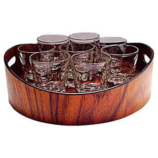 Brazilian Rosewood Drink Tray & 8 Glasses