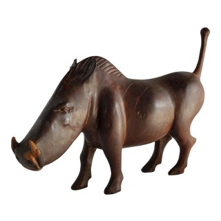 African Hand-Carved Ironwood Warthog