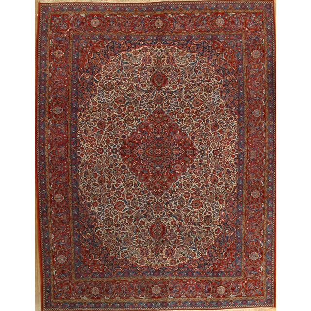 "Antique Persian Kashan Rug - 8'11"" X 11'7"" - Image 1 of 4"
