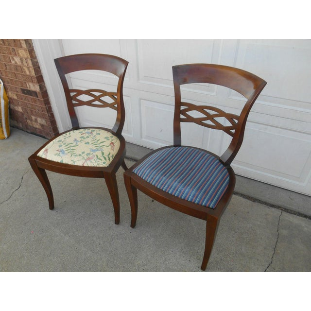 Image of Vintage Baker Furniture Biedermeier Fruitwood Dining Chairs - A Pair
