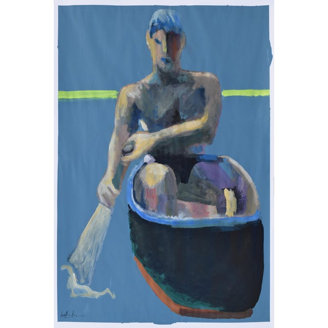 Image of Acrylic Painting Boy in a Rowboat