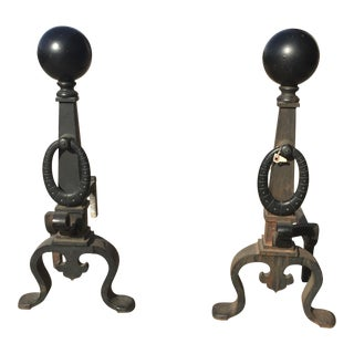 Cast Iron Fireplace Andirons - A Pair