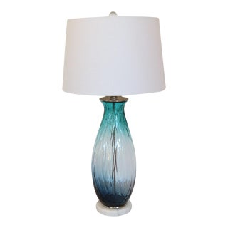 Teal, Blue & Clear Diamond Pattern Glass Lamp