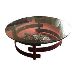 Jean Gillon Rosewood and Glass Danish Modern Coffee Table