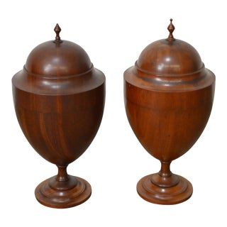 Antique Edwardian Era Pair of Mahogany Urns