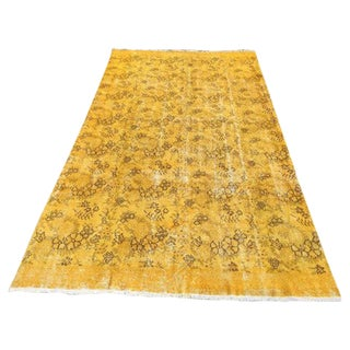"1970s Yellow Over-Dyed Turkish Rug - 5'12"" x 10'5"""
