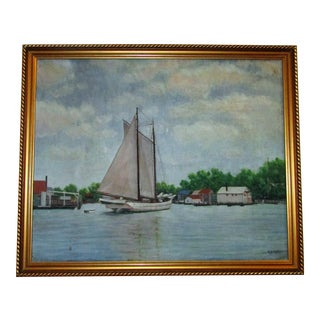 Vintage Original Signed Sailboat in a Cove Oil on Canvas