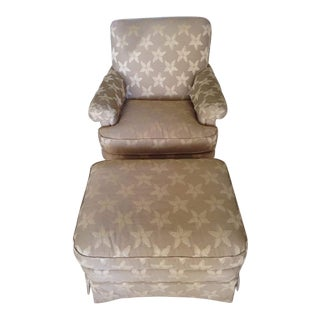 Contemporary Wesley Hall Upholstered Armchair and Ottoman Set