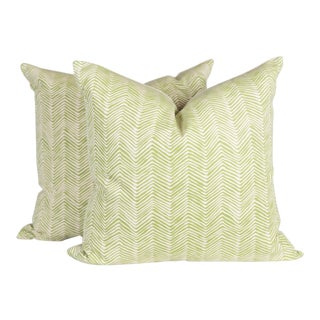 Jungle Green Zig Zag Alan Campbell Pillows - A Pair