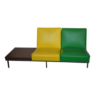 Modern Two-Tone Loveseat & Attached End Table