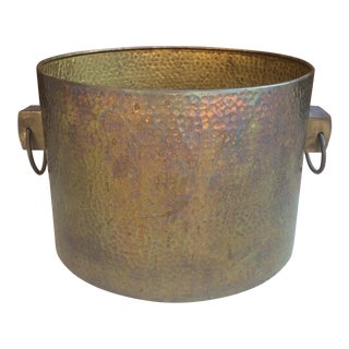 Vintage Hammered Brass Planter
