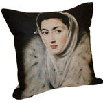 Image of Burlap Pillow - The Lady with the Ermine