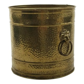 English Hammered Brass Planter w/ Lions